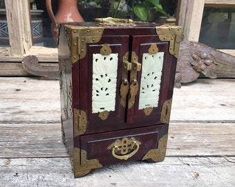 Vintage Chinese Rosewood and Jade Jewelry Box with Brass Handles, Bohemian Decor, Miniature Chest