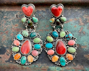 Large Multi Stone Red Spiny Oyster and Turquiose Earrings Heart Design, Navajo Isabelle Yazzie