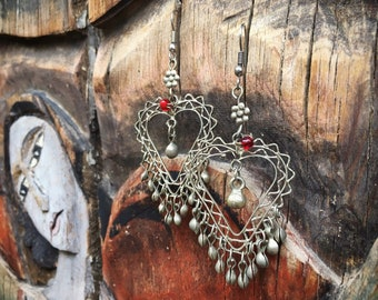 Vintage Tribal Silver Heart Earrings with Bell Dangles, Bohemian Jewelry, Boho Hippie Dangles