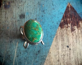 Green Turquoise Ring Size 4 Sterling Silver Ring, Bohemian Rings, Turquoise Jewelry, Girlfriend Gift, Boho Ring, Big Stone Native American