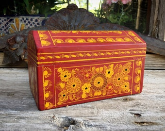 Vintage Olinala Lacquer Painted Wood Box with Flowers Red and Golden Yellow, Mexican Folk Art