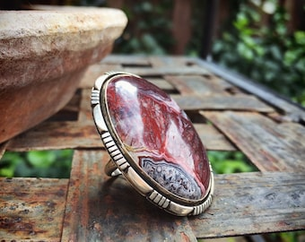 Huge Vintage Jasper Gemstone Ring for Women or Men Native American Indian Jewelry Navajo