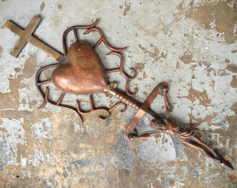 Vintage Copper Mixed Metal Wall Crucifix on Dagger, Religious Folk Art, Sacred Heart Christ on Cross, Easter Decor, Grave Stake
