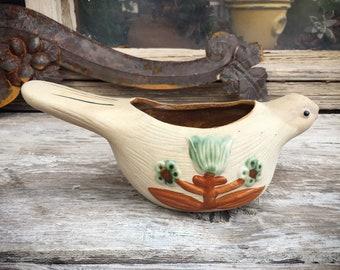 1970s Japanese Stoneware Pottery Pigeon Bird Planter, 70's Boho Decor, Vintage Plant Holder