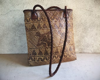 Ethnic Rattan Flat Purse, Hippie Straw and Leather Purse, Gift for Hippie, Ethnic Bag, Rectangular Bag, Basket Purse, Indonesia Tribal Bag