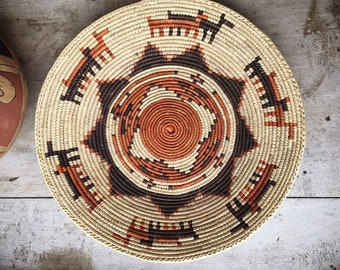 Shallow Woven Basket Brown and Rust, Bohemian Eclectic Decor Southwestern Home, Native Style Coiled Basket