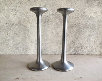 Pair of Vintage IKEA Tealight Candle Holders by Carl Ojerstam in Silver Tone Aluminum