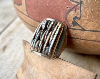 Vintage Cornrow Inlay Abalone Ring Size 9 for Women or Men, Native American Indian Shell Jewelry