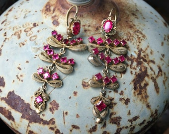 "2.5"" Long Chandelier Earrings Gold Filigree Synthetic Rubies Spanish Colonial Ecuador, Museum Piece"