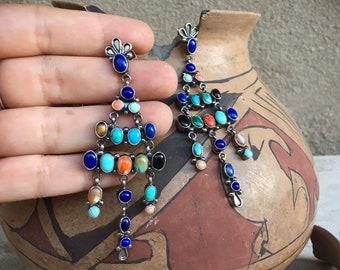 28g Navajo Multi Stone Turquoise and Lapis Lazuli Chandelier Earrings for Women, Native American Indian Jewelry, Blue Black Wedding Earrings