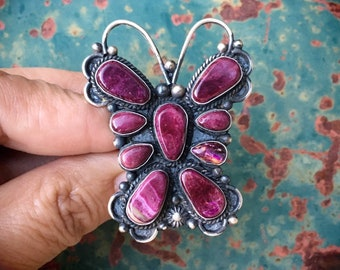 Large Butterfly Ring Purple Spiny Oyster Shell Size 9.25, Navajo Native American Indian Jewelry
