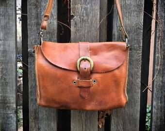 Vintage Small Satchel Distressed Leather Purse Boho Hippie 1970s Fashion, Festival Purse Shoulder Bag