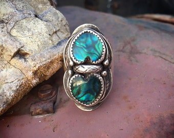 Vintage Abalone Sterling Silver Ring for Women Double Hearts, Native American Indian Jewelry