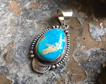 Sterling Silver and Turquoise Pendant for Necklace, Native American Indian Navajo Jewelry for Women
