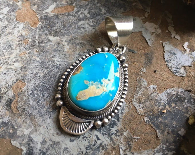 Featured listing image: Sterling Silver and Turquoise Pendant for Necklace, Native American Indian Navajo Jewelry for Women
