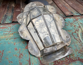 Super Distressed Old Mexican Punched Tin and Glass Candle Sconce Wall Hanging (Missing Piece)