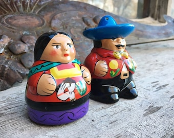 Mexican Pottery Man and Woman Salt and Pepper Shakers, Kitchen Decor Southwestern Home