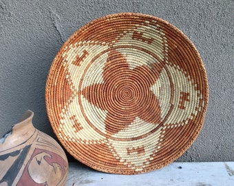 Coiled Basket Beige and Faded Orange, Southwestern Decor Bohemian, Woven Basket Wall Decor