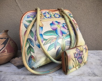 Vintage Large Hand Painted Leather Purse and Wallet Flowers Butterfly Gift, Bohemian Purse, Leather Tote