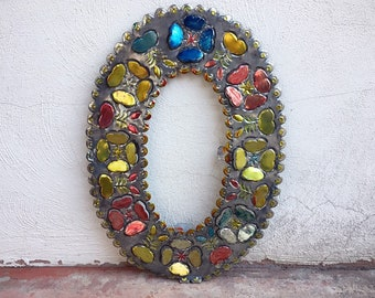 Large Vintage Mexican Tin Oval Frame Punched Painted Cut-out Metal No Glass, Old Mexico Folk Art Hojalata