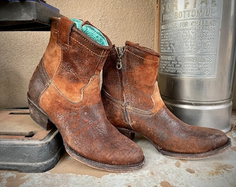 Corral Short Cowboy Boots for Women's Size 7 Brown Leather, Music Festival Southwestern Bootie