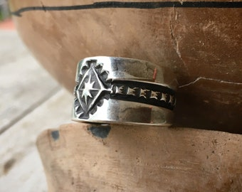 Navajo Elvira Bill Stamped Sterling Silver Cigar Band Ring Size 8.5 for Women or Men, Native American Indian Jewelry, Southwestern Gift Him