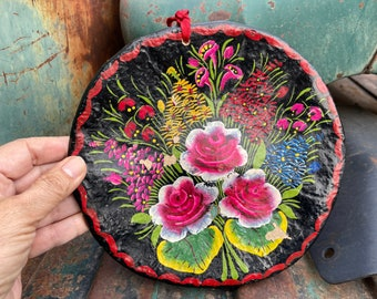 Small Painted Gourd Shallow Wall Hanging Colorful Pink on Black Floral Design, Tole Style