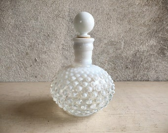 Fenton White Hobnail Glass Perfume Bottle with Stopper, Opalescent Wrisley Cologne Scent Bottle