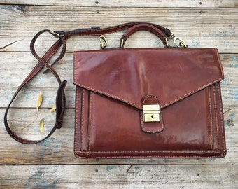 Vintage Italian Leather Satchel for Men or Women, Attache Case Briefcase Laptop Bag, Gift for College Student