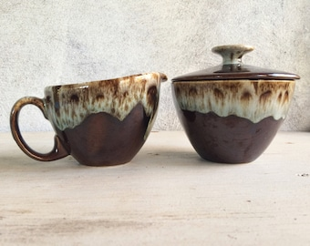 Vintage brown drip pottery cream and sugar set, Canonsburg style creamer set, Thanksgiving table, vintage Thanksgiving creamer sugar bowl