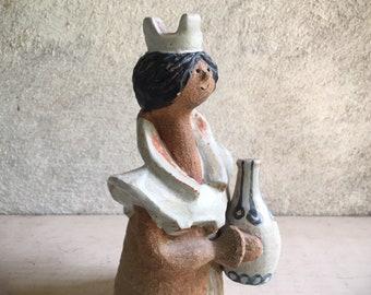 Mid Century Metlox Poppet Queen Figurine, Helen Slater Poppytrail California Pottery Flower Holder Weed Vase
