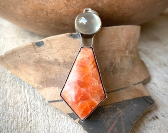 Large Pendant Orange Pink Gemstone (possibly Rhodonite) and Clear Rock Crystal in 925 Sterling Silver Setting, Bohemian Jewelry for Hippie