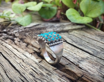 Size 7.75 Vintage Turquoise Ring for Women Signed Zuni Snake Eye Jewelry, Native American Indian Jewelry