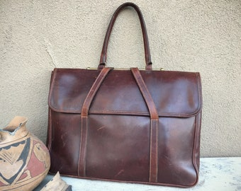 Levenger Brown Leather Made In England Single Handle Carry Slim Briefcase, Vintage Laptop Bag