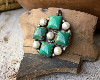 Turquoise and Pearl Pendant for Necklace, Native American Indian Navajo Jewelry, December Birthday