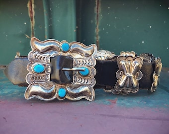 192gm Sterling Silver Turquoise Concho Belt for Women Waist Size 30 - 32, Native American Indian Navajo