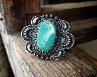 19g Navajo Kirk Smith Turquoise Ring Size 8 for Women or Men, Native American Indian Jewelry