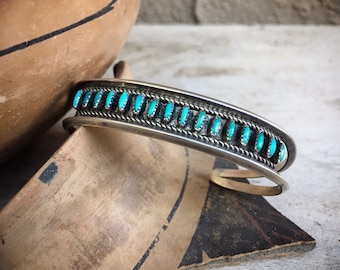 Dainty Zuni Needlepoint Turquoise Cuff Bracelet for Small Wrist, Native America Indian Jewelry