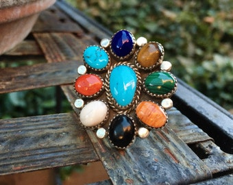 Multi Color Multi Stone Turquoise Ring Women's Size 10, Navajo Native American Indian Jewelry
