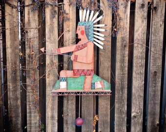 Large 1992 Folk Art Metal Sign of Native American Indian Chief with Bow and Arrow (Moves Up and Down)