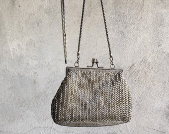 Vintage Beaded Purse Silver Glass Bugle Beads with Long Silver Rope Chain Strap, Evening Bag