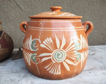 Terracotta Pottery Lidded Bean Pot Lead-Free for Cooking Frijoles, Southwestern Kitchen Decor, Bohemian Rustic Home, Mexican Cookware