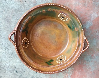 Mexican Pottery Round Bowl with Handles Capula Michoacan Redware Mexican Decor, Folk Art