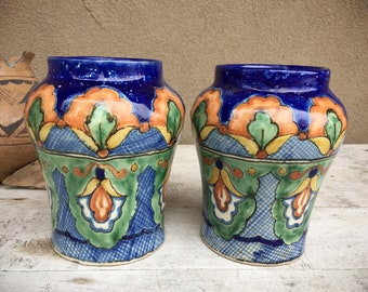 Two Uriarte Talavera Pottery Vases, Puebla Mexican Folk Art, Rustic Home Decor