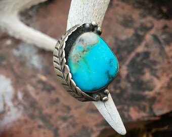 1970s Simple Turquoise Ring for Women Size 5, Native American Indian Jewelry Navajo, Western Ring