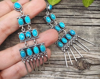 18g Turquoise Chandelier Earrings for Women, Navajo Native American Indian Jewelry, Anniversary Gift