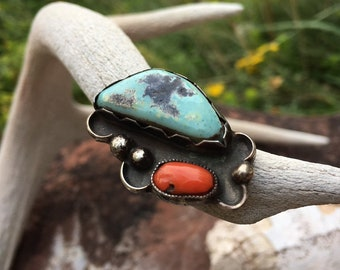 Vintage Coral and Turquoise Ring for Women Size 4, Old Pawn Navajo Native America Indian Jewelry