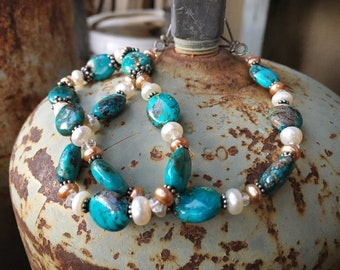 Turquoise and Fresh Water Pearl Necklace, Mothers Day Gift for Mom Her, Spring Fashion Wedding Outfit