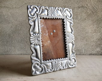 Mexican Pewter Picture Frame 4x6 Tabletop, Spanish Southwestern Decor, Wedding Frame