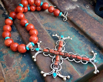 Huge Sterling Silver Natural Coral Cross Pendant Strung on Statement Red Bead Necklace with Turquoise Accents, Native American Style Jewelry